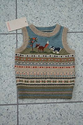 NEW Monsoon Wool Knitted Soft Green Tank Top Sleeveless Jumper 3-6 Months - GIFT