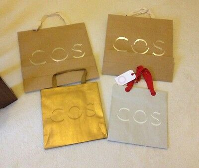 Set Of Four Gold & Silver COS Clothing Carrier Gift Bags
