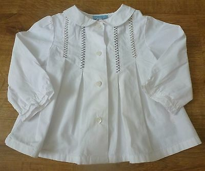 Cyrillus***Blouse/chemisier col 12 mois /74 cm Blanc Broderies