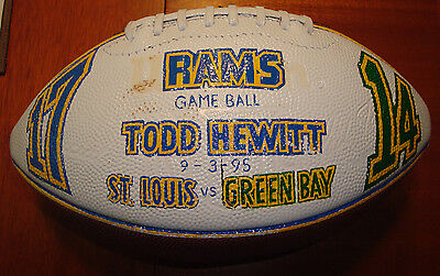 St. Louis Rams Game Used 'First Game Ever' Football 9/3/95 Los Angeles L@@K