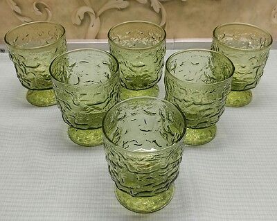 lido milano anchor hocking set of 6 avacodo green footed rock drinking glasses