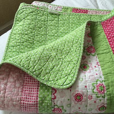 Quilt coverlet TWIN flowers dots pink green cotton girl SPRING BLOOM 84x67""