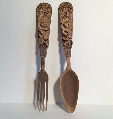 Black Forest German 19th Century Carved Serving Spoon and Fork