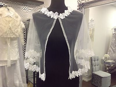 Ivory Lace Appliques Cloak Mantle Wedding Cape Overlay Bridal Gown Shawl