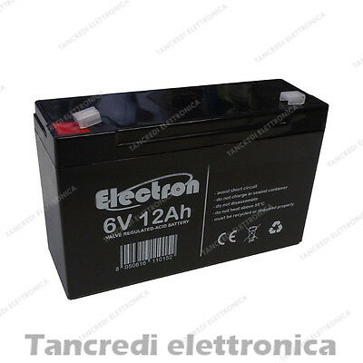 Batteria Ermetica Ricaricabile al Piombo 6V Volt 12Ah sealed lead acid battery