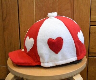 Red & White Heart Fleece Skull Cap Riding Helmet Hat Cover Silk With Pompom