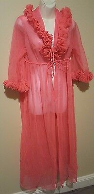 Vintage Pink Peignoir Nightgown Sheer Robe Duster Size Medium Womens Lingerie