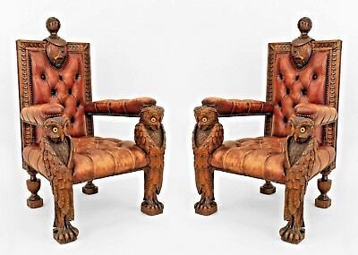 Rustic Continental Style (19th Cent.) Walnut Carved Arm Chairs