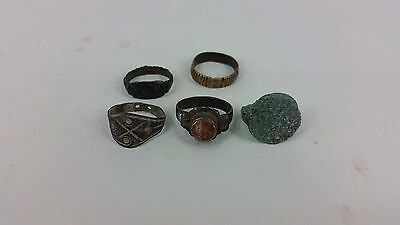 Ancient Bactrian Bronze 5  Rings Set C.300 BC