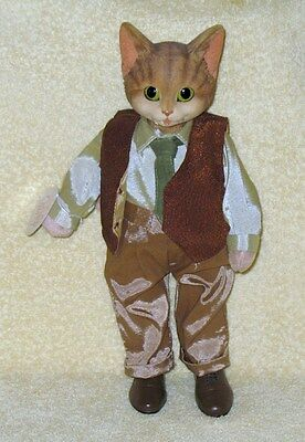 """Cat Doll in Vest and Tie by Heather Hykes 11 ¼"""" Tall Cat Nip Collection"""