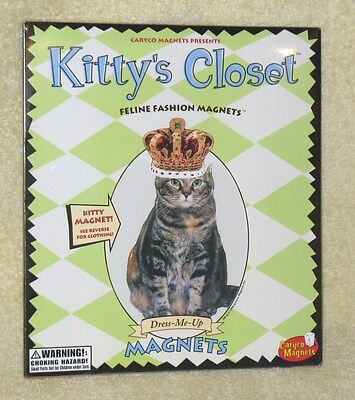 Vintage cat dress up Kitty Closet feline fashion magnets 1998 mint in pkg