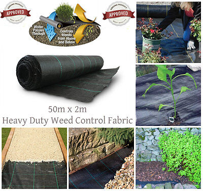 NEW Heavy Duty Weed Control Woven Fabric Ground Cover Membrane Mat 100gsm