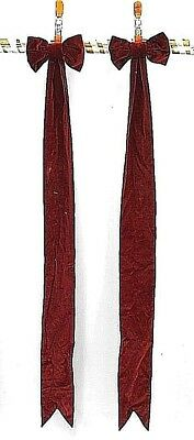 Pair of Maroon Velvet Bows with Long Tails