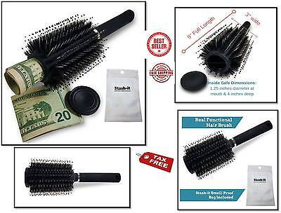 Hair Brush Diversion Stash+Smell Proof Bag Stash Can Safe store Valuables HIDE