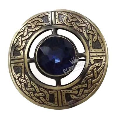 Scottish Kilt Fly Plaid Brooch Blue Stone Antique Finish 3""
