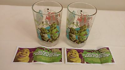 Vintage NEVER USED 2007 Shrek the Third Glasses & Original advertisements