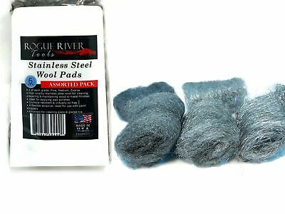 6pc Assorted 434 Stainless Steel Wool Pads (Fine, Medium, Coarse) - Made in USA!