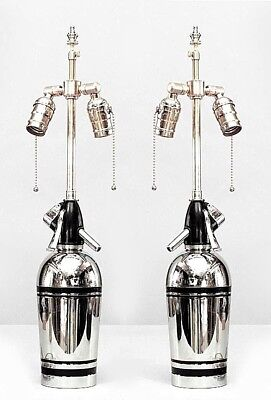 Pair of English Art Deco Chrome and Bakelite Trimmed Syphon Bottles Lamps