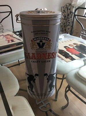 Madness Gladness Ltd Ed. Beer Gift Tin, Glass, Emptied  Lager Bottle