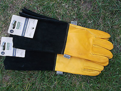 Town & Country Mens Premium  Leather Gauntlet Garden Gloves Large 9-10 x 2 Tan