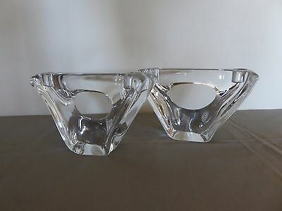 DAUM Matching Pair, Mid-Century, Crystal Candle Holders - France