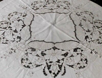 Vintage Madeira round embroidered cutwork richelieu tablecloth Heirloom quality~