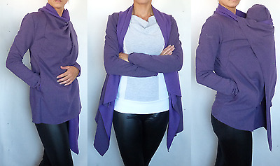 Purple Waterfall Cardigan Transforms Into Baby Wearing Jumper Cute Baby's Hood