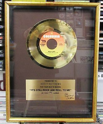 BILLY JOEL It's Still Rock & Roll To Me VINTAGE IN HOUSE GOLD RECORD AWARD