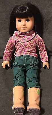 AMERICAN GIRL DOLL IVY 18 INCH  Brown Eyes Black Hair Light Skin Pierced Ears