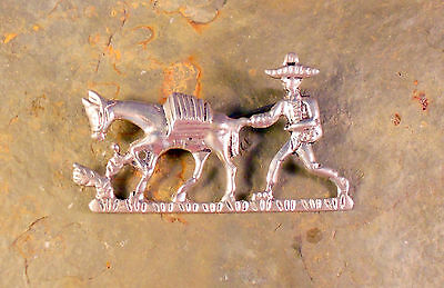 Old Mexican Sterling Silver Brooch Pin Showing Man, Donkey, & Cactus So Cute