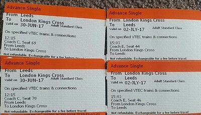 Leeds to London (Coach C/E) Tickets Return x2 30th June > 2nd July (Virgin)