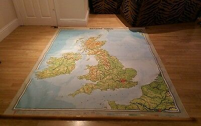 Vintage 1958 Fabric Roll Down German School Map Of British Isles Extra Large
