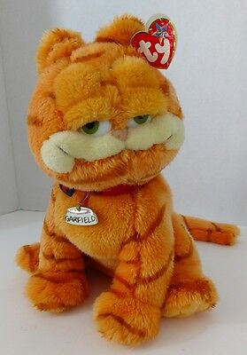 "Vtg Garfield Plush Original Ty Beanie Buddy Red Collar Garfield Tag 10"" 2004"