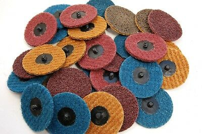 """(30pk) 3"""" Assorted Surface Conditioning Prep Sanding Discs Type R Quick Change"""