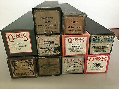 Antique Vintage LOT of 10 Player Piano Rolls - Hawaiian Hula Luau Wedding Song