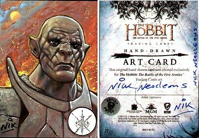 The Hobbit Battle of the Five Armies AP SketchCard painted by Nick NIK Neocleous