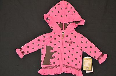 NWT Juicy Couture Highlighter Pink Sweater Jacket Hoodie Infant Girl Sz 0/3
