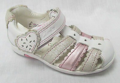 BNIB Clarks Girls Softly Palm White Combi Leather First Sandals F Fitting