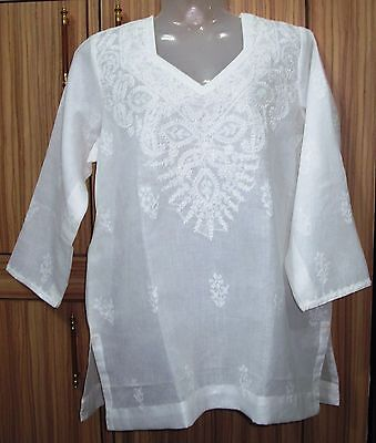 Chikan hand embroidered kurti top tunic ethnic Lucknowi vintage 4XL plus size