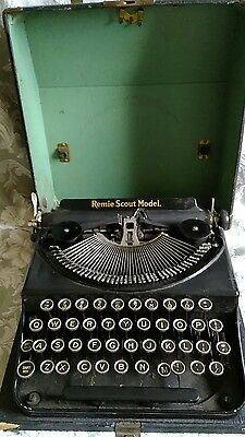 1930's VTG ANTIQUE PORTABLE TYPEWRITER with CASE~REMIE SCOUT MODEL~GREAT LOOK!