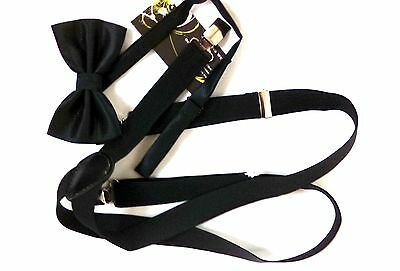 Fast UK  Post & Packing New Mens Black Braces With Black Bow Tie