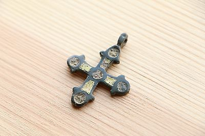 Great Traditional Bronze VIKING Pendant Cross with enamels 10-11 AD