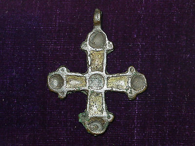 Viking  cross pendant. Bronze  yellow & green enamel.ca 10-13 century AD
