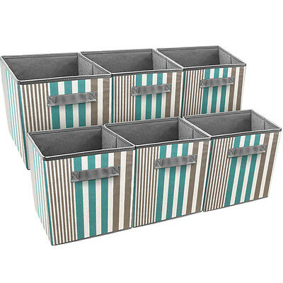 Sorbus Foldable Storage Cube Basket Bin, 6 Pack, Vertical Stripe Pattern (Aqua)