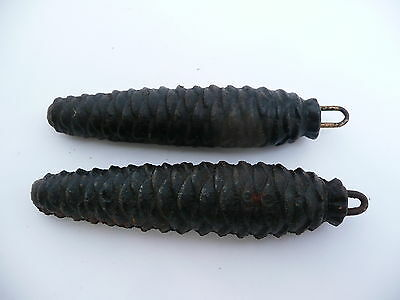 Super Vintage Pair Of Cuckoo Clock Cast Fir Cone Weights 250 Grams Each