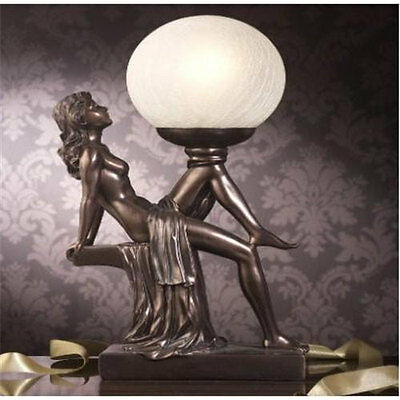 Art Deco Bronze Lady Statue Lamp Crackle Globe Glass Shade Lounge Table Light