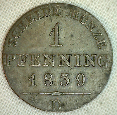1839 D German States PRUSSIA Pfennig KM# 405 XF Copper World Coin #P