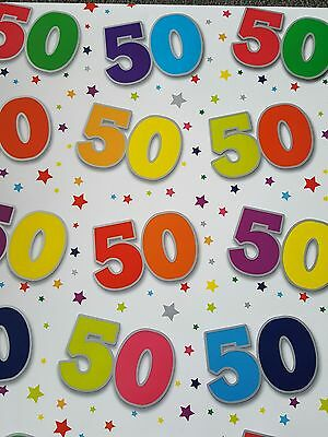 5 Sheets Of Thick Glossy 50Th Birthday Wrapping Paper