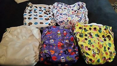 5 X Tots Bots Easyfit Reusable Nappies. Used. GORGEOUS designs.