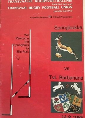 South Africa Springboks v Transvaal Barbarians 1985 rugby programme